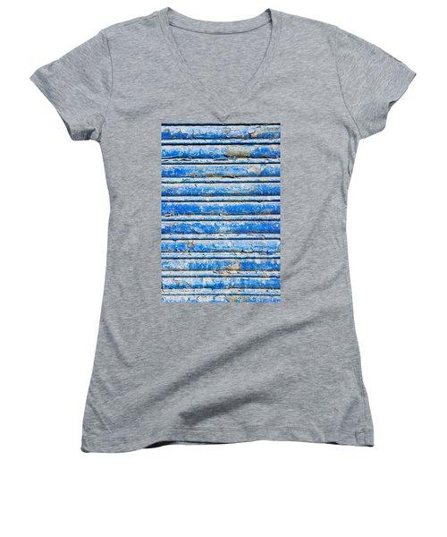 Blue Weathered Metal  Women's V-Neck T-Shirt