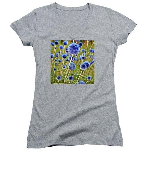Blue Wild Thistle Women's V-Neck
