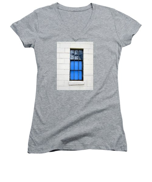 Blue Window Panes Women's V-Neck T-Shirt (Junior Cut) by Sandra Church