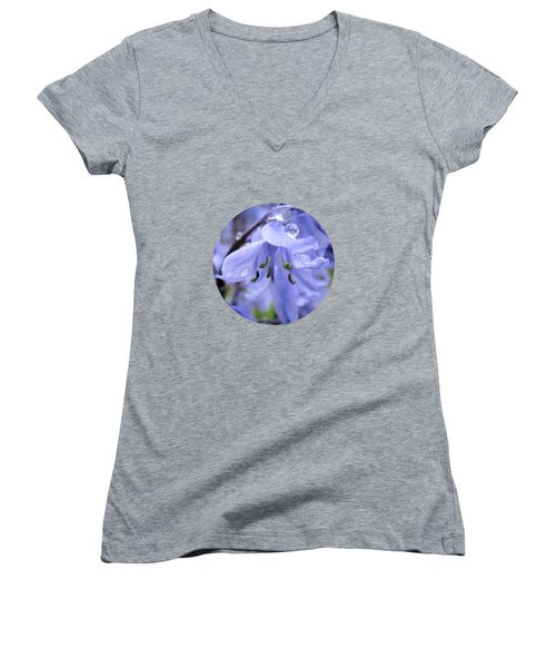 Women's V-Neck featuring the painting Bluebell Wood By V.kelly by Valerie Anne Kelly