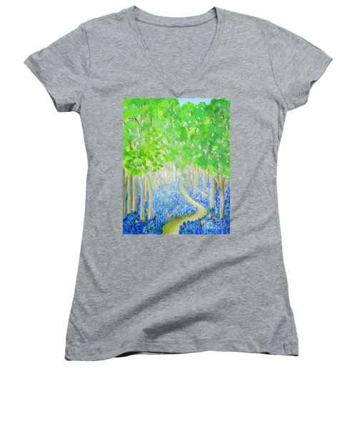 Bluebell Wood With Butterflies Women's V-Neck