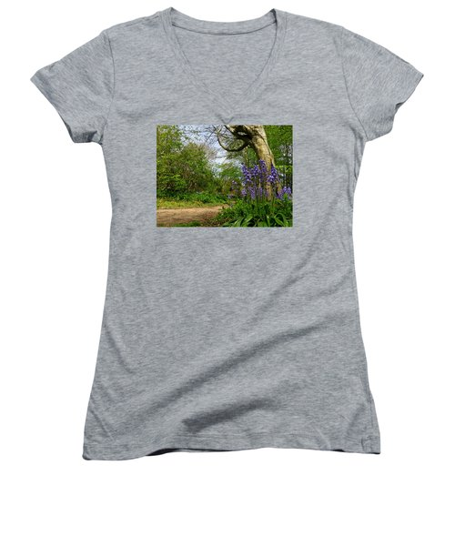 Bluebells By The Tree Women's V-Neck T-Shirt