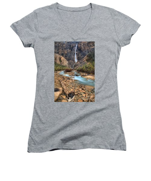 Women's V-Neck T-Shirt (Junior Cut) featuring the photograph Blueberry Blue Waters Under Takakkaw Falls by Adam Jewell