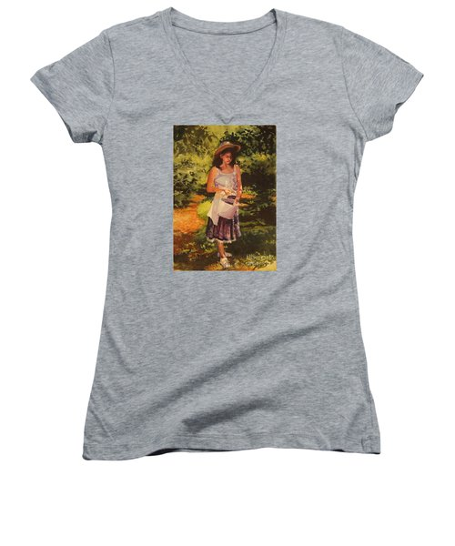 Women's V-Neck T-Shirt (Junior Cut) featuring the painting Blueberry Girl by Elizabeth Carr