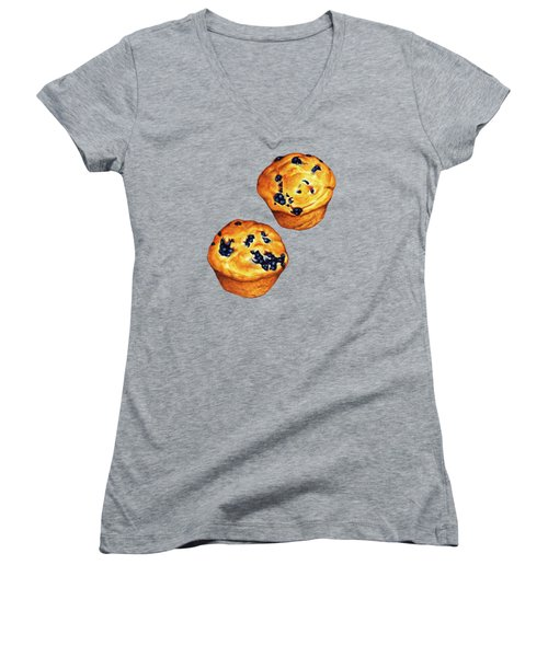 Blueberry Muffin Pattern Women's V-Neck T-Shirt (Junior Cut) by Kelly Gilleran
