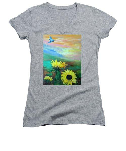 Bluebird Flying Over Sunflowers Women's V-Neck T-Shirt (Junior Cut) by Robin Maria Pedrero