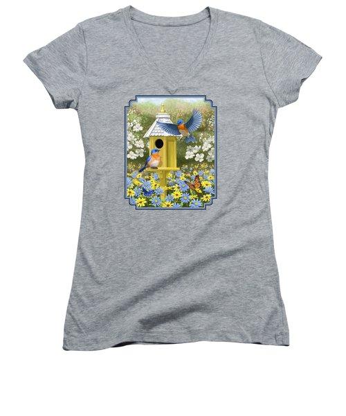 Bluebird Garden Home Women's V-Neck T-Shirt (Junior Cut) by Crista Forest