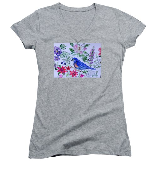 Bluebird In A Garden Women's V-Neck T-Shirt