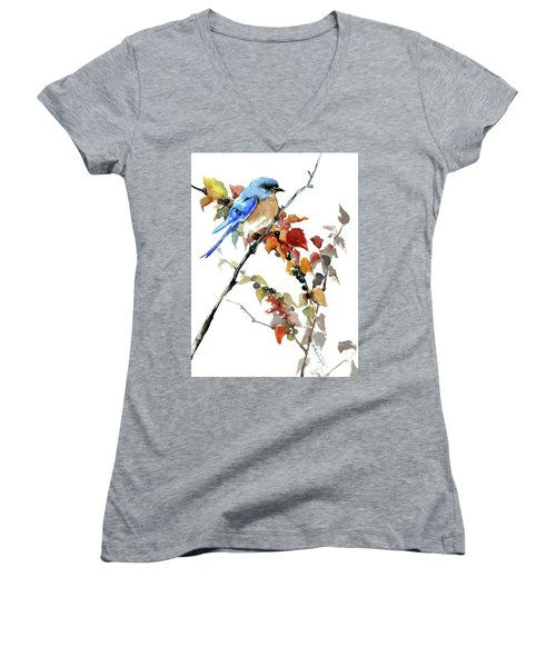 Bluebird In The Fall Women's V-Neck (Athletic Fit)