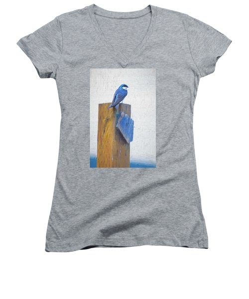 Women's V-Neck featuring the photograph Bluebird by James BO Insogna