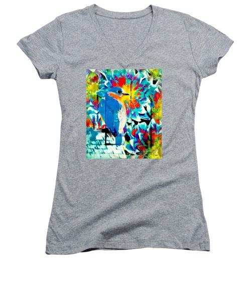 Bluebird Pop Art Women's V-Neck T-Shirt (Junior Cut) by Tina LeCour