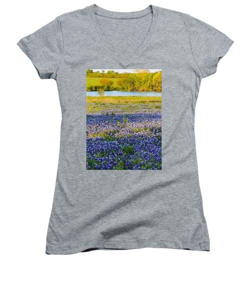 Bluebonnet Field Women's V-Neck T-Shirt