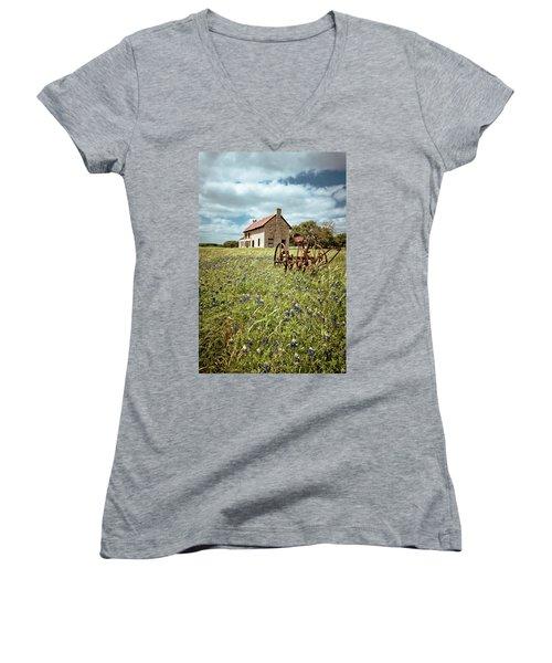 Women's V-Neck T-Shirt (Junior Cut) featuring the photograph Bluebonnet Fields by Linda Unger