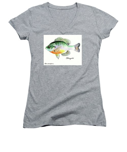 Women's V-Neck T-Shirt (Junior Cut) featuring the painting Bluegill Fish by LeAnne Sowa