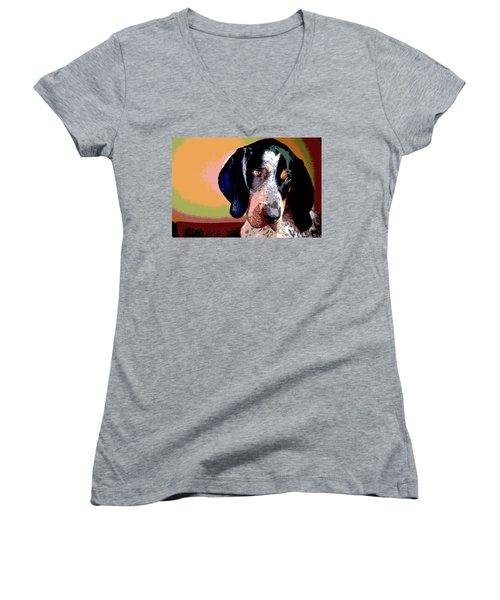 Bluetick Coonhound Women's V-Neck T-Shirt (Junior Cut) by Charles Shoup