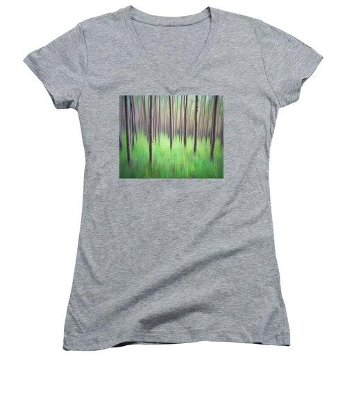 Blurred Aspen Trees Women's V-Neck