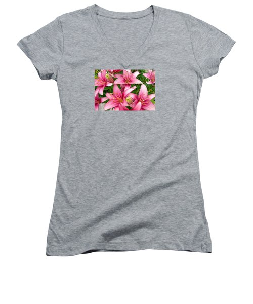 Blush Of The Blossoms Women's V-Neck (Athletic Fit)