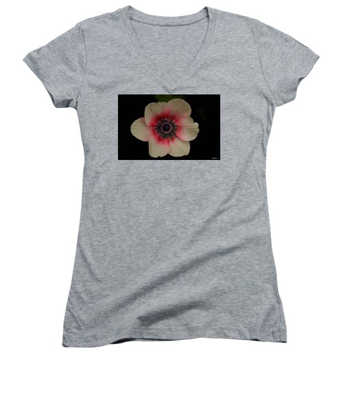Women's V-Neck T-Shirt (Junior Cut) featuring the photograph Blushing  by Uri Baruch