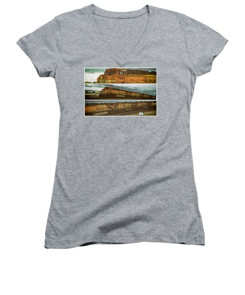 Bnsf 7682 Triptych  Women's V-Neck T-Shirt (Junior Cut) by Bartz Johnson