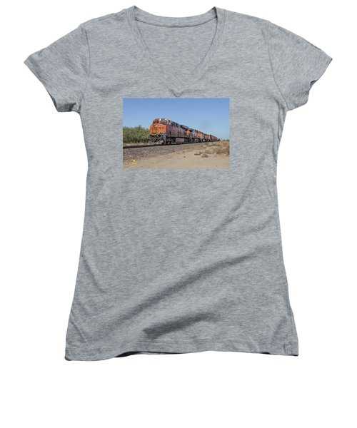 Women's V-Neck featuring the photograph Bnsf7890 by Jim Thompson