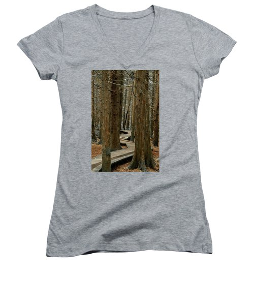 Boardwalk Among Trees Women's V-Neck T-Shirt (Junior Cut) by Scott Holmes