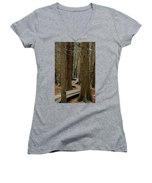 Boardwalk Among Trees Women's V-Neck T-Shirt