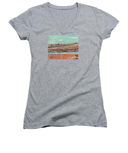 Boardwalk At Sandwich Ma Women's V-Neck T-Shirt