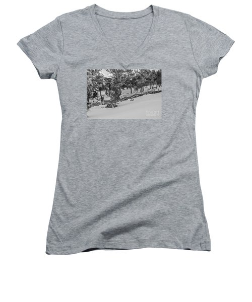Women's V-Neck T-Shirt (Junior Cut) featuring the photograph Boardwalk Climbing A Hill by Sue Smith