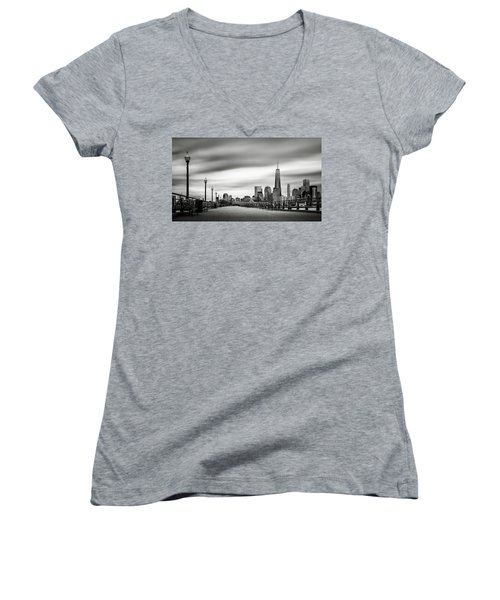 Boardwalk Into The City Women's V-Neck T-Shirt