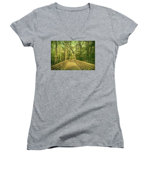 Women's V-Neck T-Shirt featuring the photograph Boardwalk by Lewis Mann