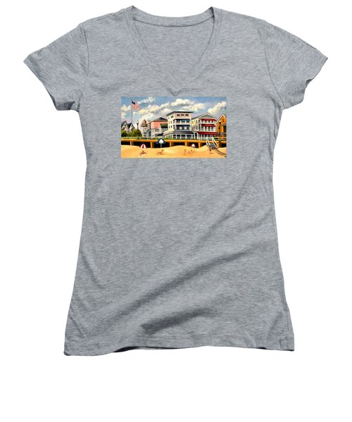 Boardwalk On The Jersey Shore Women's V-Neck (Athletic Fit)