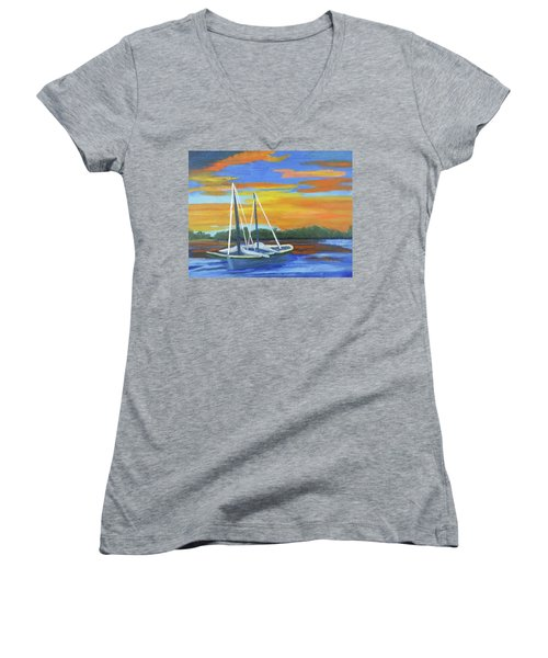 Women's V-Neck T-Shirt (Junior Cut) featuring the painting Boat Adrift by Margaret Harmon