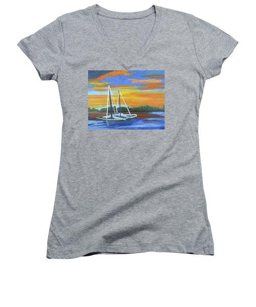 Boat Adrift Women's V-Neck T-Shirt (Junior Cut) by Margaret Harmon