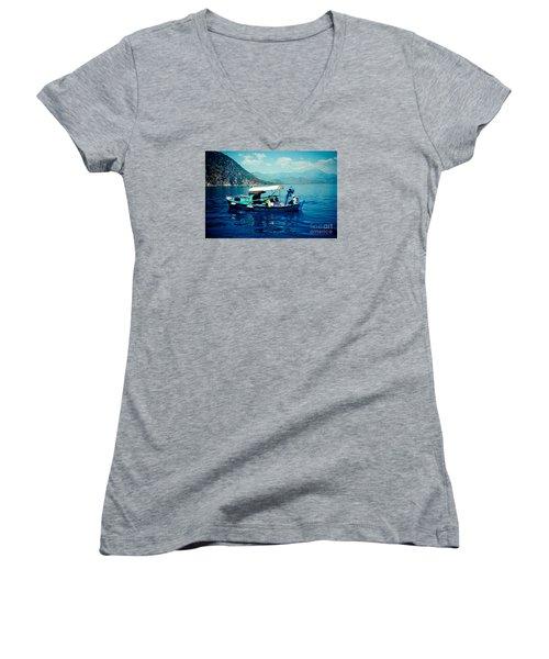 Boat And Sapfir Sea Seascape Artmif Women's V-Neck