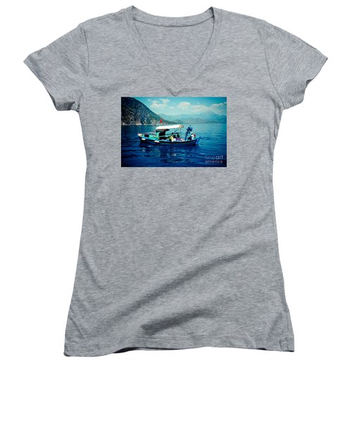 Boat And Sapfir Sea Seascape Artmif Women's V-Neck