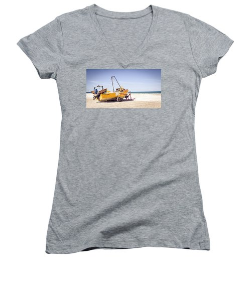 Women's V-Neck T-Shirt (Junior Cut) featuring the photograph Boat And The Beach by Silvia Bruno