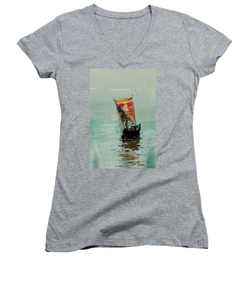 Women's V-Neck T-Shirt (Junior Cut) featuring the painting Boat by Helal Uddin