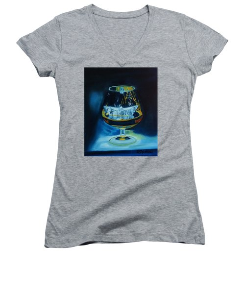 Women's V-Neck T-Shirt (Junior Cut) featuring the painting Boat In A Glass by Rod Jellison