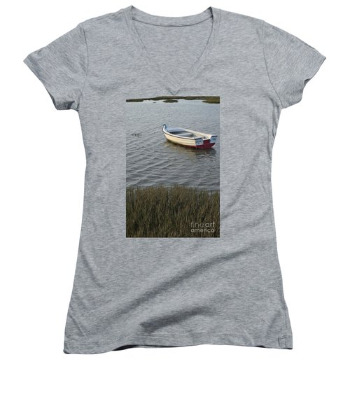 Boat In Ria Formosa - Faro Women's V-Neck T-Shirt