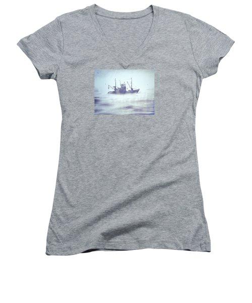 Boat In The Foggy Sea Women's V-Neck T-Shirt (Junior Cut) by Elena Vedernikova