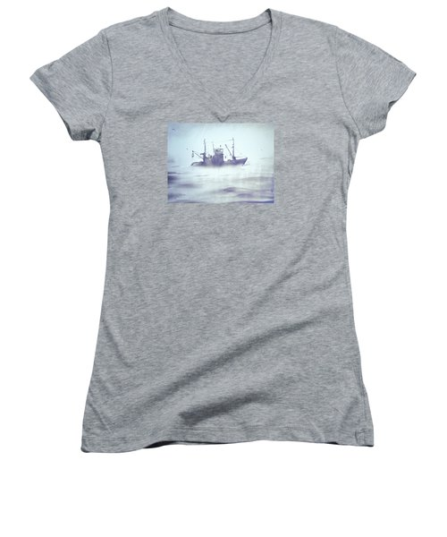 Boat In The Foggy Sea Women's V-Neck