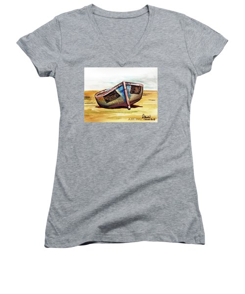 Boat On Beach Women's V-Neck (Athletic Fit)