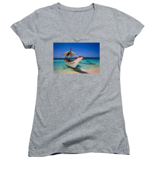 Boat On Boracay Island Women's V-Neck (Athletic Fit)