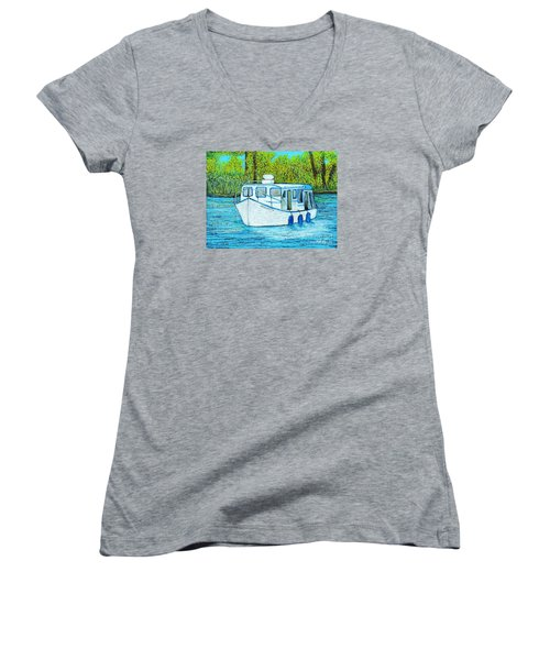 Boat On The River Women's V-Neck T-Shirt (Junior Cut) by Reb Frost