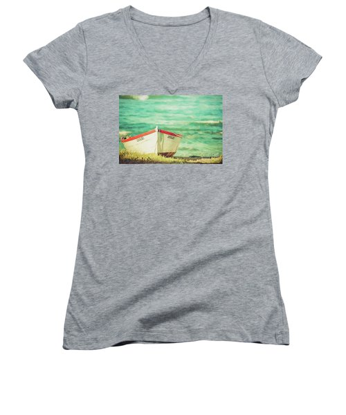 Boat On The Shore Women's V-Neck (Athletic Fit)