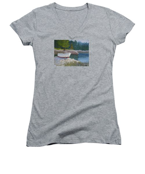 Boat On Tidal River Women's V-Neck