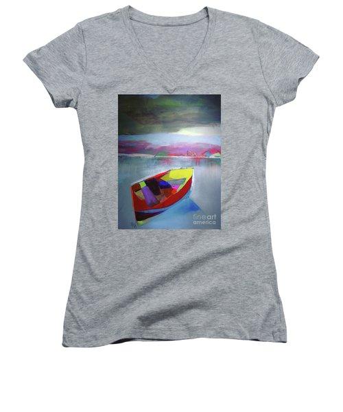 Boat On Whiskey Lake Women's V-Neck T-Shirt