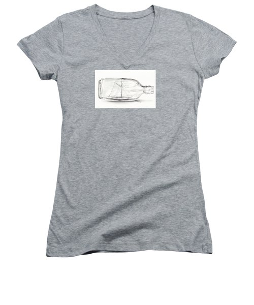 Women's V-Neck T-Shirt (Junior Cut) featuring the drawing Boat Stuck In A Bottle by Meagan  Visser