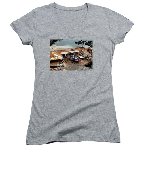 Boat Yard Iquique Harbor Chile Women's V-Neck (Athletic Fit)