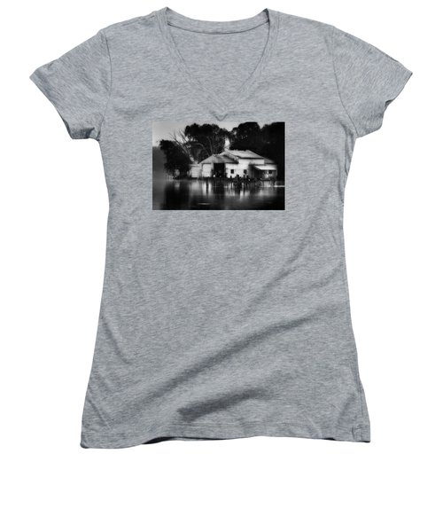 Women's V-Neck T-Shirt (Junior Cut) featuring the photograph Boathouse Bw by Bill Wakeley